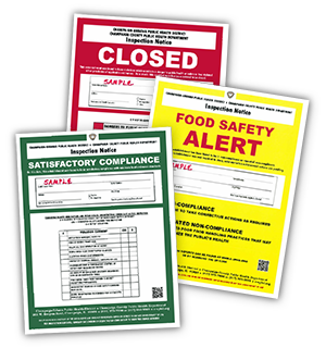 food inspection placards sample