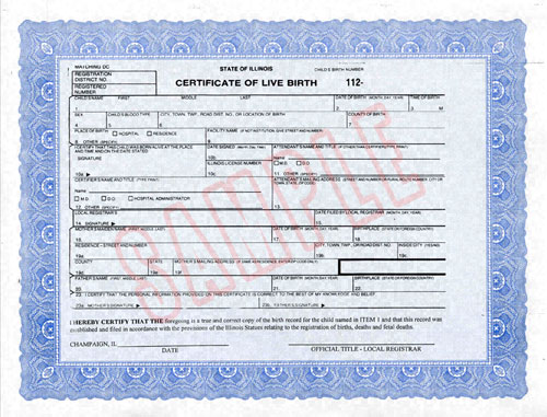 Birth Certificate Information CUPHD – Sample Birth Certificate